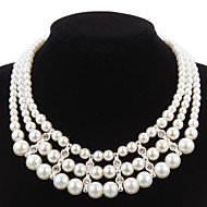 Elegant Imitation Pearl Strand With Rhinestone Women's Necklace
