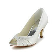 Women's Shoes Satin / Stretch Satin Spring / Summer / Fall Heels / Peep Toe Wedding Stiletto HeelBlack / Red / Ivory / White / Silver /