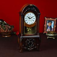 """19 """"Retro Art Brown Tabletop Clock"""