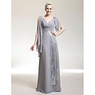 Formal Evening / Military Ball Dress - Silver Plus Sizes / Petite Sheath/Column V-neck Floor-length Chiffon / Sequined