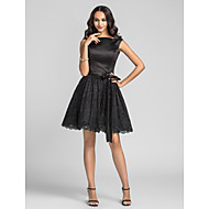 Knee-length Charmeuse / Lace Bridesmaid Dress - Black Plus Sizes / Petite A-line / Princess Bateau