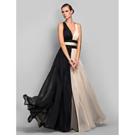 Formal Evening / Military Ball Dress-Multi-color Plus Size / Petite A-line / Princess V-neck Floor-length Chiffon