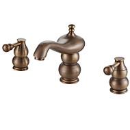 Contemporary Widespread Two Handles Three Holes in Antique Copper Bathroom Sink Faucet