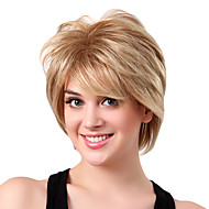 Capless Short High Quality Synthetic Golden Blonde Curly Hair Wigs Side Bang