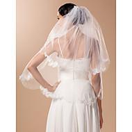 아플리케와 비드 2 층 팔꿈치 결혼식 베일