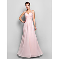 Sheath/Column V-neck Floor-length Chiffon And Lace Evening/Prom Dress (682734)