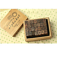 Lowercase Letters Wooden Stamps Set(28 PCS)