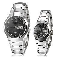 Pagani Couple's Calendar Black Round Dial Full Steel Band Quartz Analog Wrist Watch
