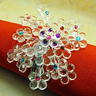 Hydrangea Acrylic Beads Napkin Ring, Dia4.2-4.5cm Set of 12