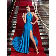Vestido - Azul Oceano Baile Militar/Festa Formal Tubo/Coluna Frente única Longo Jersey Tamanhos Grandes
