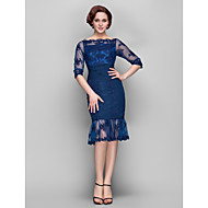 Sheath/Column Plus Sizes / Petite Mother of the Bride Dress - Dark Navy Knee-length Half Sleeve Chiffon / Tulle