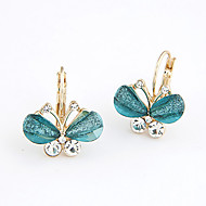 Women's Fashion Sweet Petty Butterfly Stud Earrings With Rhinestone