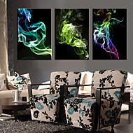Stretched Canvas Print Art Abstract Colorful Smoke Set of 3