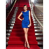 Cocktail Party/Holiday Dress - Royal Blue Plus Sizes Sheath/Column Cowl Short/Mini Jersey