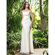 A-line Plus Sizes Wedding Dress - Ivory Floor-length Square Georgette
