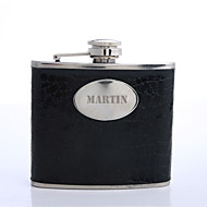 Personalized Father's Day Gift Black 5oz PU Leather Capital Letters Flask