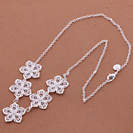 Charming Alloy Silver Plated With Silver Flowers Women'S Necklace