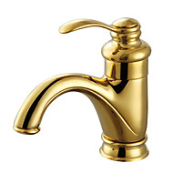 Contemporary Centerset Single Handle One Hole in Antique Brass Bathroom Sink Faucet