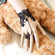 Mørk Queen Handmade Black Lace Gothic Lolita armbånd med Deulxe Ring