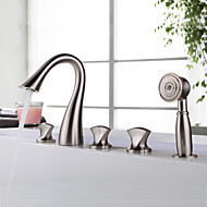 Bathtub Faucet - Contemporary - Waterfall / Handshower Included - Brass (Nickel Brushed)