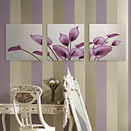 Canvastaulu taide Kukat Purple Petals Set of 3