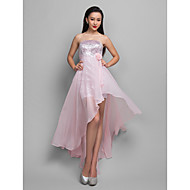 Cocktail Party/Holiday Dress - Candy Pink Plus Sizes A-line Strapless Asymmetrical Chiffon/Sequined