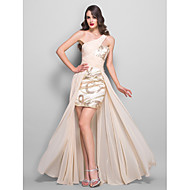 Formal Evening/Prom/Military Ball Dress - Champagne/Almond Plus Sizes A-line One Shoulder Floor-length Chiffon/Stretch Satin/Sequined
