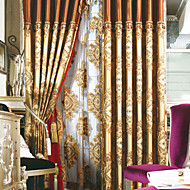 European  Neoclassical Two Panels Floral  Botanical Brown Bedroom Linen  Cotton Blend Panel Curtains Drapes