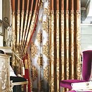Evropští neoklasicistní dva panely květinovými botanické hnědé ložnice prádlo bavlněné směsi panelové záclony závěsy