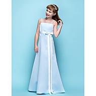 Vloer Lengte Satijn Junior bruidsmeisjesjurk - Hemelsblauw A-Lijn Spaghetti Bandjes