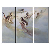 Ručně malované olejomalba Lidé Rapture víla s Reprodukce Rám Sada 3