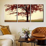 Stampa trasferimenti su tela Arte contemporanea foglie rosse Set di 3