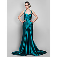 TS Couture® Formal Evening / Military Ball Dress - Vintage Inspired Plus Size / Petite Trumpet / Mermaid Halter Sweep / Brush Train Stretch Satin