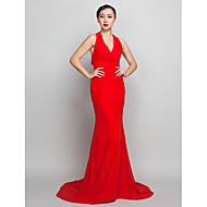 TS Couture Formal Evening Dress - Open Back Sheath / Column Halter Sweep / Brush Train Chiffon with Ruching