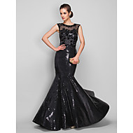 Homecoming Formal Evening/Military Ball Dress - Black Plus Sizes Trumpet/Mermaid Scoop Sweep/Brush Train Sequined/Tulle