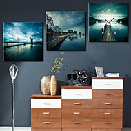 Modern Style Natural Scene Wall Clock in Canvas 3pcs