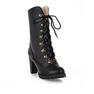 damesschoenen mode laarzen platform dikke hiel halverwege de kuit laarzen met klinknagel meer kleuren beschikbaar
