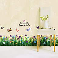 1PCS Colorful Butterflies over Flowers Skirting Line Wall Sticker