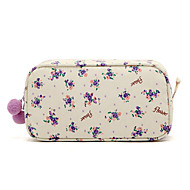 Квадратная Свежий Малый Фиолетовый цветочным узором пухом Мячи Макияж / Cosmetic Bag Косметика хранения