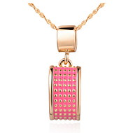 Vintage Square-Shape Slivery And Golden Alloy Necklace With Gemstone(1 Pc)(Gold,Slivery)