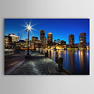 Stretched Canvas Print Art Landscape The Night of Boston, USA