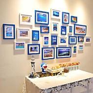 Blå Hvid Farve Blandet fotoramme Collection Set af 25
