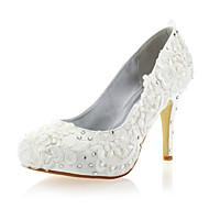 Women's Spring Summer Fall Winter Satin Lace Wedding Party & Evening Stiletto Heel Rhinestone White