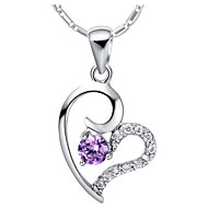 Vintage Heart Shape Silvery Alloy Women's Necklace(1 Pc)(Purple,White)