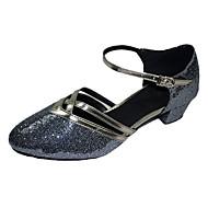 Non Customizable Women's Dance Shoes Modern/Ballroom Sparkling Glitter Chunky Heel Silver/Gold