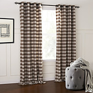 Modern Two Panels Plaid/Check Brown Bedroom Cotton Panel Curtains Drapes