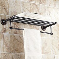 "Towel Bar / Bathroom Shelf Oil Rubbed Bronze Wall Mounted 630x 265 x 66mm (24.8 x10.43x 2.59"") Brass Traditional"