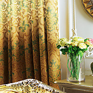 Rococo Two Panels Curve Earth  Amber Bedroom Polyester Panel Curtains Drapes