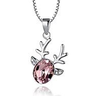 Высокое качество Прекрасный олень Кристалл стерлингового серебра платина покрыли ожерелье
