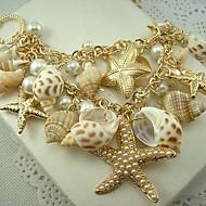 europei conchiglie stile di perle e stelle marine doppio maglione collana a catena